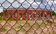 Old Pumping Station & Security Fence HDR (hz536n/George Thomas) Tags: red oklahoma fence spring rust lab rusty security fisheye chainlink april rusting meeker hdr 2010 smrgsbord pumpingstation cs3 photomatix labcolor canonef15mmf28fisheye topazadjust cratitudesnolimits
