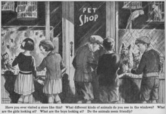 Pet Store Window Shopping by Herbert Rudeen (katinthecupboard) Tags: city town farm shops geography stores vintagechildrensbooks vintagechildrensillustrations vintagechildrenstextbooks vintagegeography