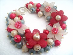 035 (kim smith charm bracelets) Tags: uk flowers blue red summer glass fashion garden tomato duck handmade egg cream jewelry pearls jewellery bracelet pearl chic seller beaded shabby