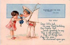 Greetings Card, Birthday, Children, Boy Holding Sailboat, Standard Publishing (oldsailro) Tags: park old boy sea summer people sun lake playing beach water pool girl sunshine youth sailboat race vintage children fun toy boat miniature wooden pond model waves sailing ship time yacht antique group boom mast hull keel