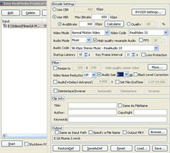 Tela de configuração do EasyRealMedia Tools.