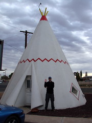 Outside the cement wigwam that I spent the night in at the Wigwam Motel, Holbrook, New Mexico