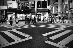X - Road ([~Bryan~]) Tags: street bw white black night tokyo traffic crossroad shunjuku