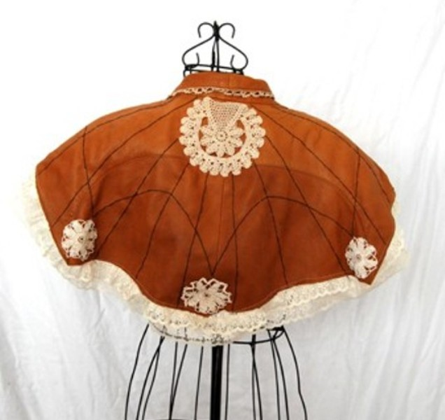Refashioned Leather and Lace Capelet by Jessamity 3