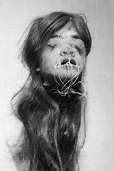 ...tsantsa... (Colleen Shepherd) Tags: bw monochrome museum texas meetup houston exhibit shrunkenhead hmns img8477 tsantsa canonef100mmf28lmacroisusm spiritsandheadhunters