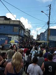 Walking through the crowds.