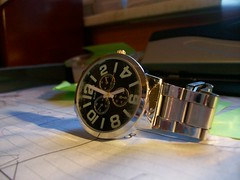 Watch the Time (ddaniellefresh at baby shower and around town) Tags: metal dark glow calendar hole watch puncher