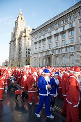 At the start line (Mark-Crossfield) Tags: pictures santa christmas charity xmas blue red england liverpool beard fun photo funny image photos picture running run scene images fatherchristmas mass jogging scenes fancydress 2009 dressed everton recordattempt photosof picturesof santadash imagesof markcrossfield snapsof picciesof