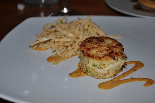 This is Rick Moonens crab cake with jicama and chipotle mayonnaise.