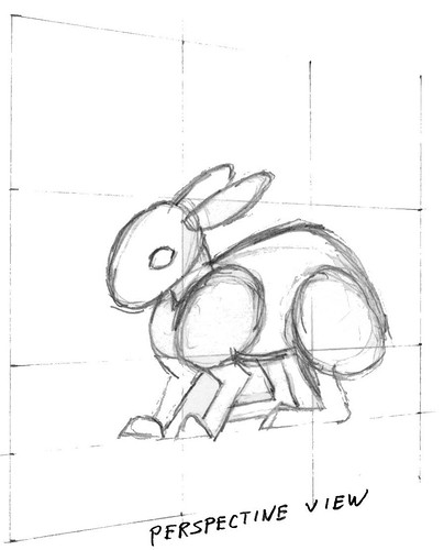 Sketch of a rabbit in perspective view