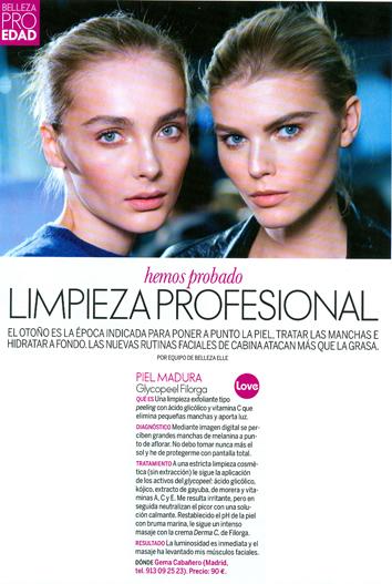 Gema Cabañero recomienda en Elle, la limpieza exfoliante Glykopeel Filorga