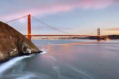Fishing at the Golden Gate, San Francisco (PatrickSmithPhotography) Tags: ocean sanfrancisco california city longexposure travel bridge sunset sea vacation usa seascape beach skyline landscape golden bay gate pacific suspension coittower baybridge seafoam blacksandbeach