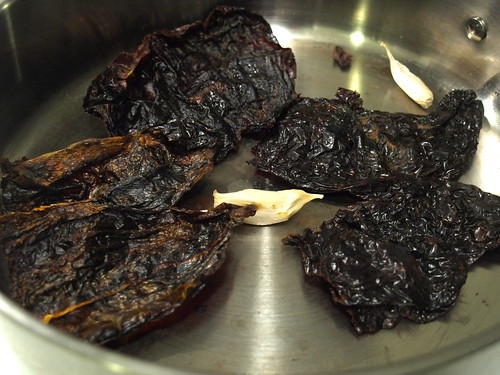 toasting dried ancho chiles