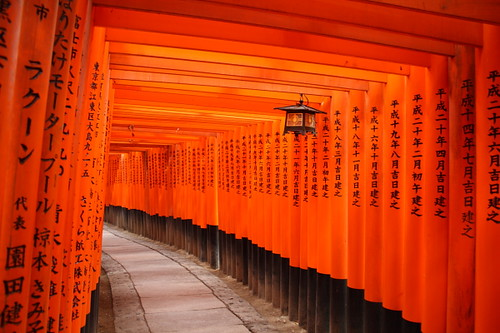 Red gates on the hill of Fushimi Inari Shrine