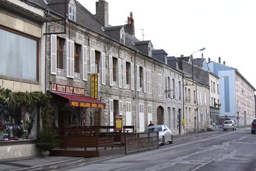 Winter street in Givet.