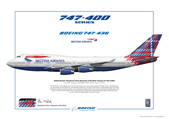 British Airways, Benyhone Tartan - Mountain of the Birds, Boeing 747-436 G-BNLI