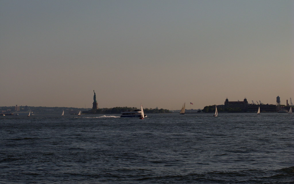 Statue of Liberty & Ellis Island, New York Harbor, Manhattan NYC USA