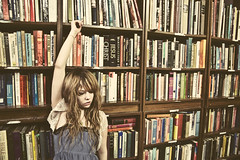 (yyellowbird) Tags: selfportrait canada girl winnipeg library books bookstore cari shelves
