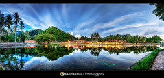 Reflections on Candidasa Water Garden (Marco Waagmeester) Tags: bali panorama lake reflections indonesia nikon watergarden hdr d300 candidasa lotuspond tokina116atx
