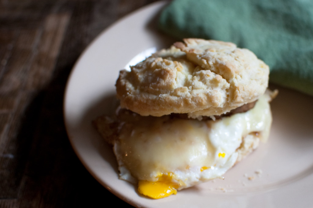 Egg, veggie sausage, and cheese on a biscuit
