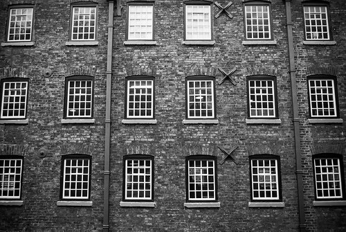 Quarry Bank Mill Windows (B&W)
