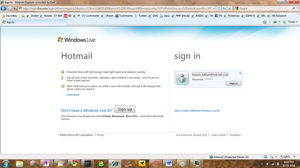 windows live messenger hotmail sign in page