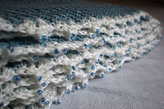 Garter stitch linen stole with beaded edge