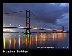 Humber Bridge (Paul Simpson Photography) Tags: road uk longexposure england reflection water clouds reflections river lights evening twilight traffic dusk sony estuary humberbridge humber rivercrossing roadway humberside riverhumber watercrossing kartpostal mywinners flickraward bratanesque sonya700 march2010 paulsimpsonphotography ringexcellence dblringexcellence