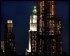 (Jane Kratochvil (Amazin' Jane)) Tags: newyorkcity nightphotography skyline manhattan financialdistrict lowermanhattan woolworthbuilding beekmantower frankgehryconstruction