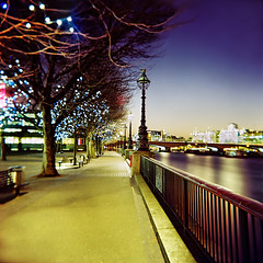 South Bank long exposure (Anatoleya) Tags: london 120 6x6 film thames bulb night square holga lomo xpro lomography crossprocessed long exposure cross south bank slide southbank crossprocessing processing nights medium format expired ektachrome processed e100vs holgagraphy 120gcfn anatoleya