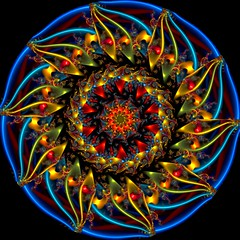 Sunflower Kaleidoscope (Ate My Crayons) Tags: blue abstract art digital spiral neon abstractart digitalart gimp vivid kaleidoscope mandala symmetry sunflower computerart fractal amc thegimp tutorial taa kaleidoscopes kaleidosphere artdigital gmic kaleidoscopesonly gimptutorial artgimp awardtree crazygeniuses circlecrazy