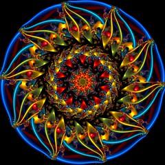 Sunflower Kaleidoscope (Ate My Crayons) Tags: blue abstract art digital spiral neon abstractart digitalart gimp vivid kaleidoscope mandala symmetry sunflower computerart fractal amc thegimp tutorial taa kaleidoscopes kaleidosphere artdigital gmic kaleidoscopesonly gimptutorial artgimp awardtree crazygeniuses circlecrazy