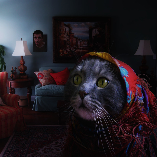 cat head surreal livingroom diana mounted granny babushka nemomeimpunelacessit catwars goddessofthehunt