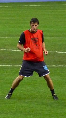 Yoann Gourcuff (GB) à l'échauffement