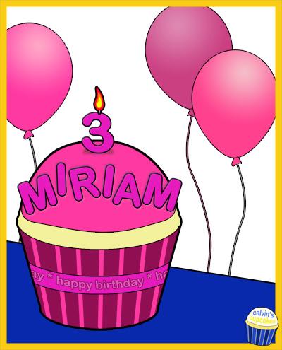 Miriam's 3rd Birthday Cupcake