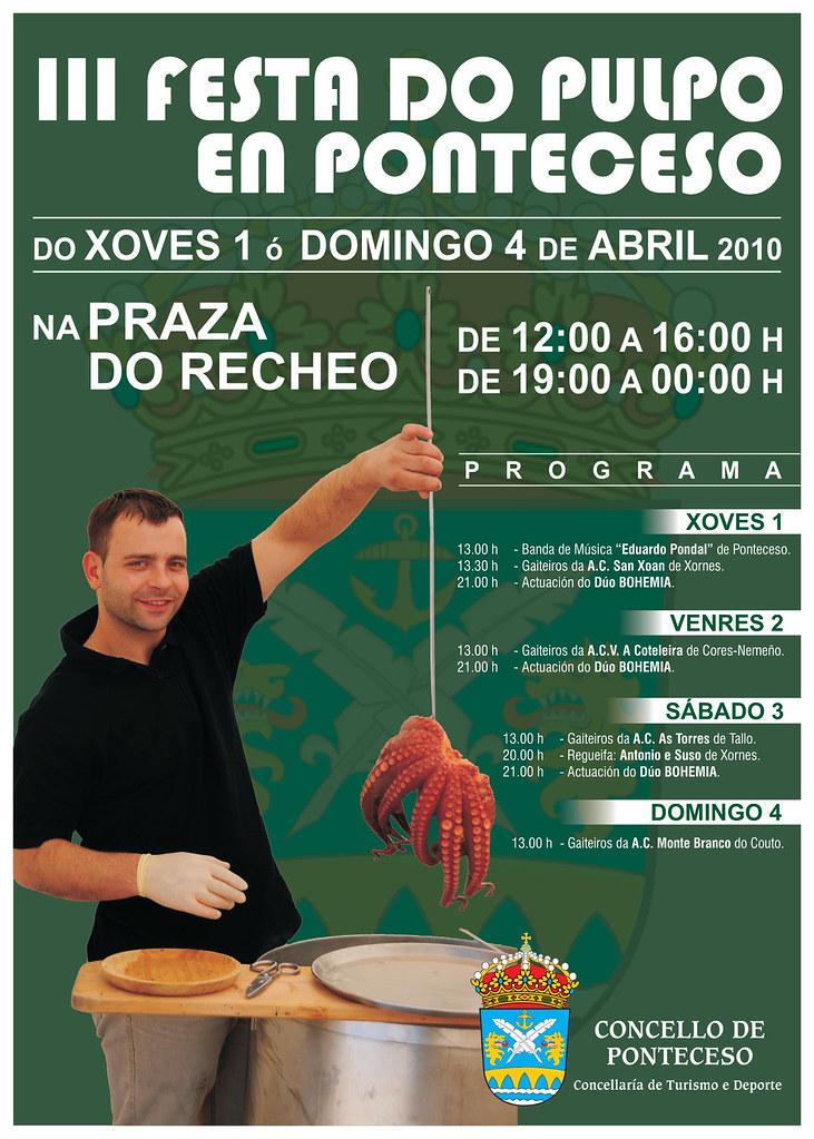 Festa do pulpo en Ponteceso - 2010 - 3ª edición - abril - Concello de Ponteceso - cartel