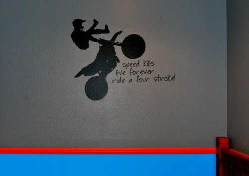 Angry Kid's Room with Vinyl Wall Decal-Motorcross