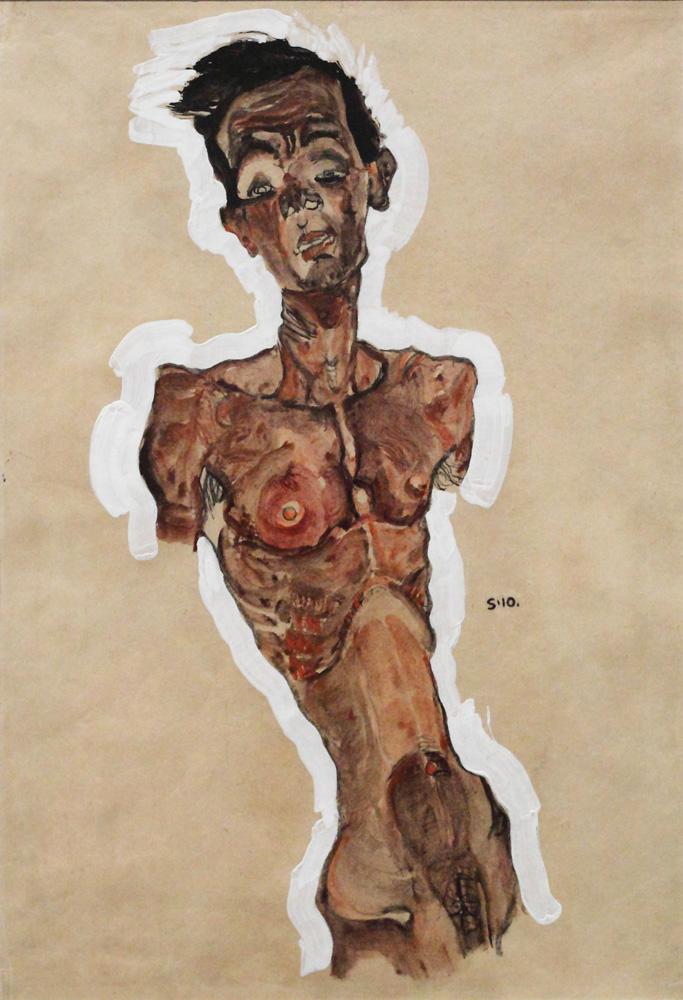 Egon Schiele, Selbstakt [Nude Self-Portrait], 1910