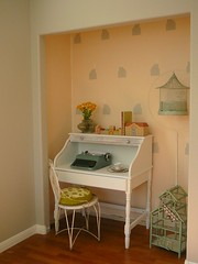 my nook (Fallon Akers) Tags: white birdcage vintage grey desk painted gray peach nook homedecor typewritter stenciledwall