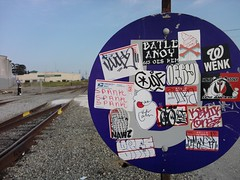 Slap! ($here Khan) Tags: yard train graffiti sticker juice yme barf luck rem ico 663 spank suka oes howe cloe combo btk suk lcm htf batle wherewolf ryc esd orby wenk batler kemik romanse anoy ceito nawz 455er hysu romanser