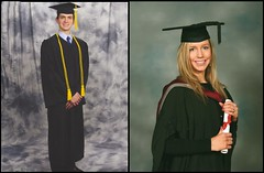 Will and Christina in their BA graduation photos.