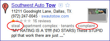 Southwest Auto Tow in Dallas, Texas - Steal / Complaint Issues