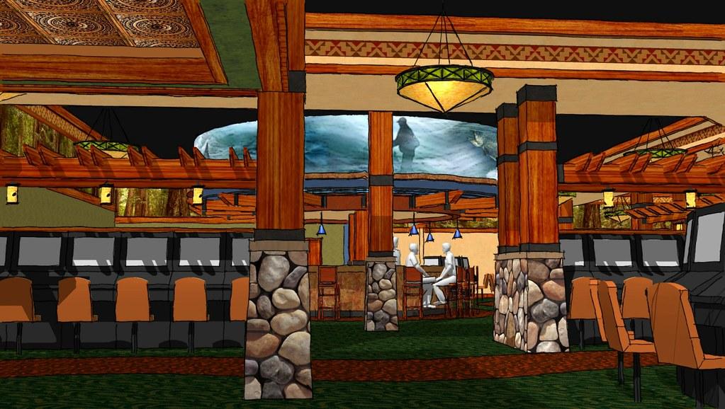 Interior Casino Design | Conceptual Casino Design | Lodge Themed Casino | 3D Casino Rendering Casino Bar Area | Lucky 7 Casino