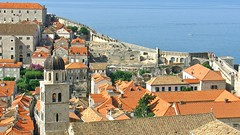 View from the City Walls in Dubrovnik, Croatia (kyweb) Tags: roof red sea orange house building tower castle heritage rooftop monument architecture port tile harbor town ancient europe view cathedral croatia landmark medieval historic unesco ramparts citywalls fortifications oldtown fortress dubrovnik  oldcity adriatic citywall remparts battlements stadtmauer dalmatia dalmacija    walledtown   cintamuraria wallwalk   oldcitywalls  stadsmuur      stadtbefestigung pearloftheadriatic