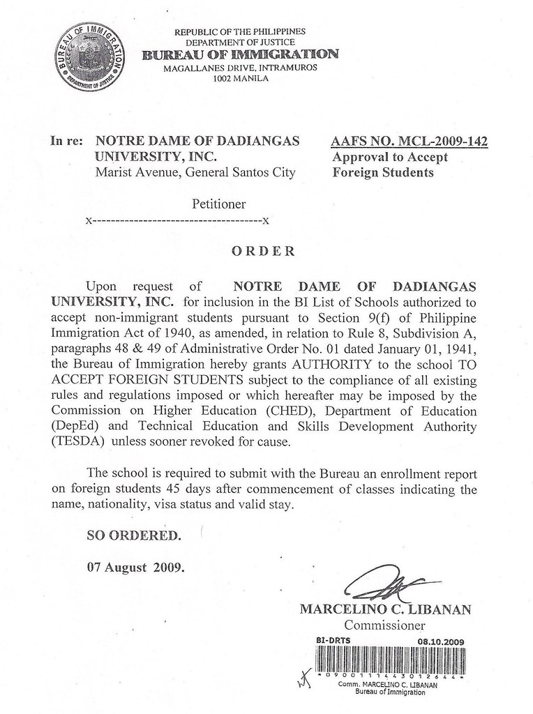 The letter from Bureau of Immigration allowing NDDU to accept foreign students.