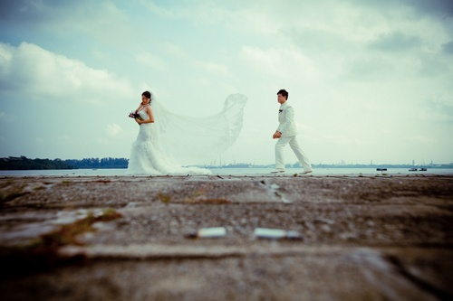 Outdoor photo shoot on actual day wedding