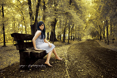 leave me alone..... (yoga - photowork) Tags: portrait girl female canon indonesia ir photography 350d model angle wide infrared 1022mm rosepetal skintone inspiredbylove