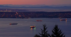 Waiting Freighters (Grant Mattice Photography) Tags: ocean trees sunset canada water vancouver boats lights twilight flickr bc pacific dusk britishcolumbia englishbay nightscene westcoast freighters cityview longexsposure sweetlight nightssky d80 flickrcanada nikoncanada grantmatticeimages