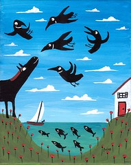 mystifying (sarapulver) Tags: dog fish painting crow saiboat