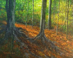 """A Forest in New England"" an acrylic painting (Elizabethc) Tags: autumn light summer orange brown tree art fall leaves forest artwork artist shadows michigan branches roots trunks twigs battlecreek greenfoliage goldstaraward elizabethcrabtree crabtreeoriginals"